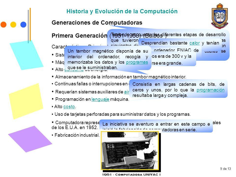 9 de 13 Historia y Evolución de la Computación Generaciones de Computadoras Teniendo en cuenta las diferentes etapas de desarrollo que tuvieron las co