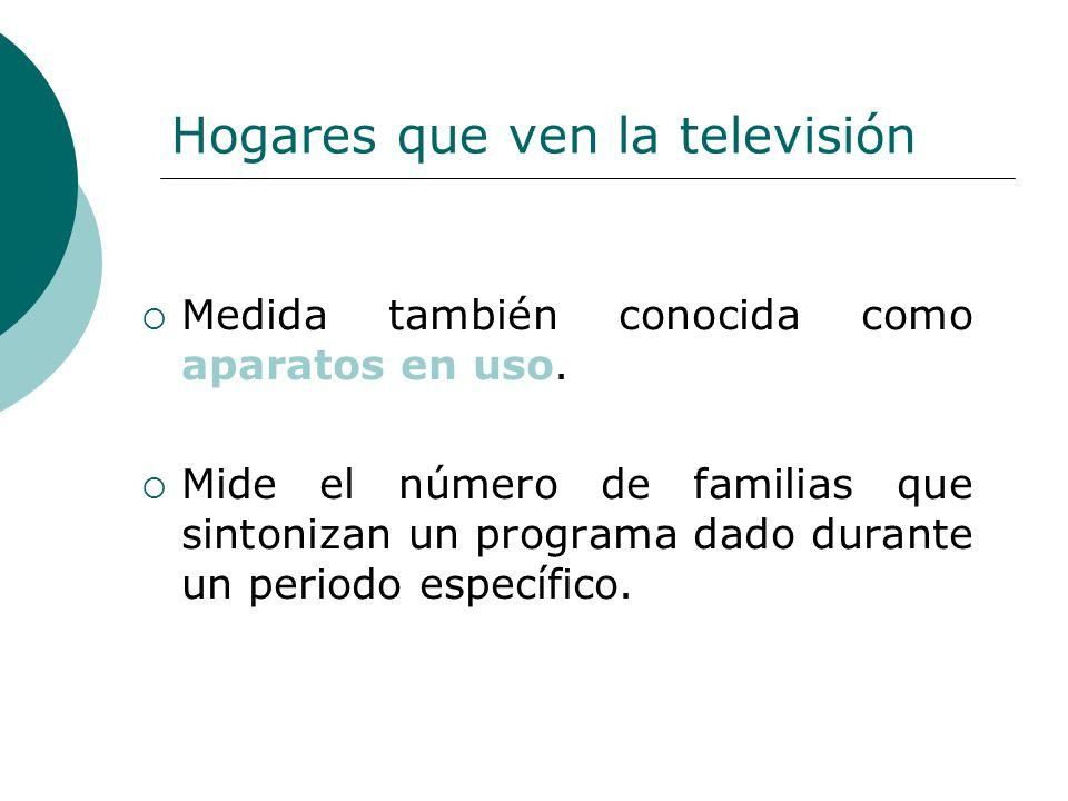 Hogares que ven la televisión Medida también conocida como aparatos en uso. Mide el número de familias que sintonizan un programa dado durante un peri
