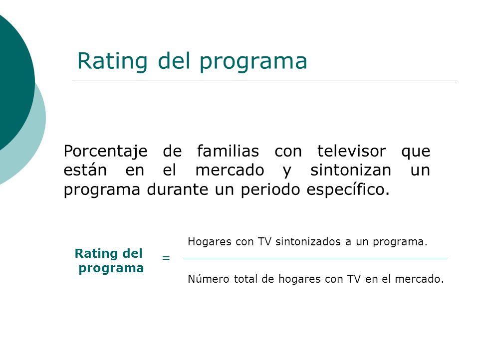 Rating del programa Porcentaje de familias con televisor que están en el mercado y sintonizan un programa durante un periodo específico. Rating del pr