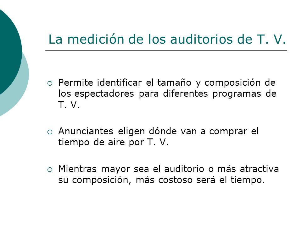 La medición de los auditorios de T. V. Permite identificar el tamaño y composición de los espectadores para diferentes programas de T. V. Anunciantes