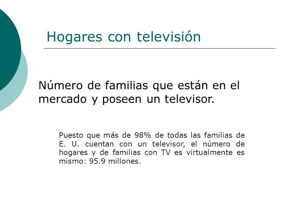Hogares con televisión Puesto que más de 98% de todas las familias de E. U. cuentan con un televisor, el número de hogares y de familias con TV es vir