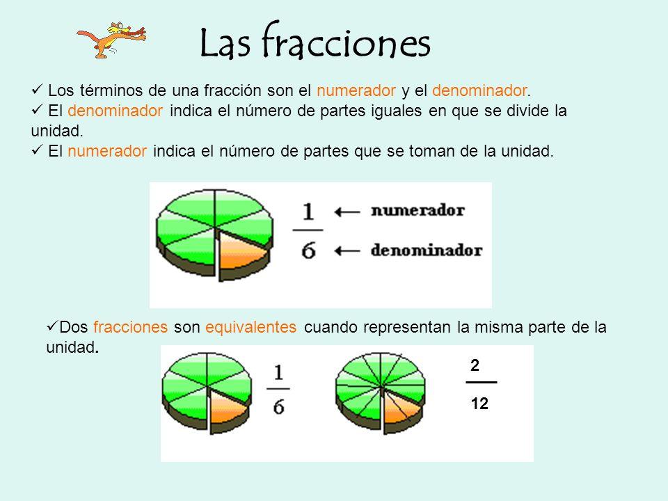 Las fracciones Los términos de una fracción son el numerador y el denominador. El denominador indica el número de partes iguales en que se divide la u