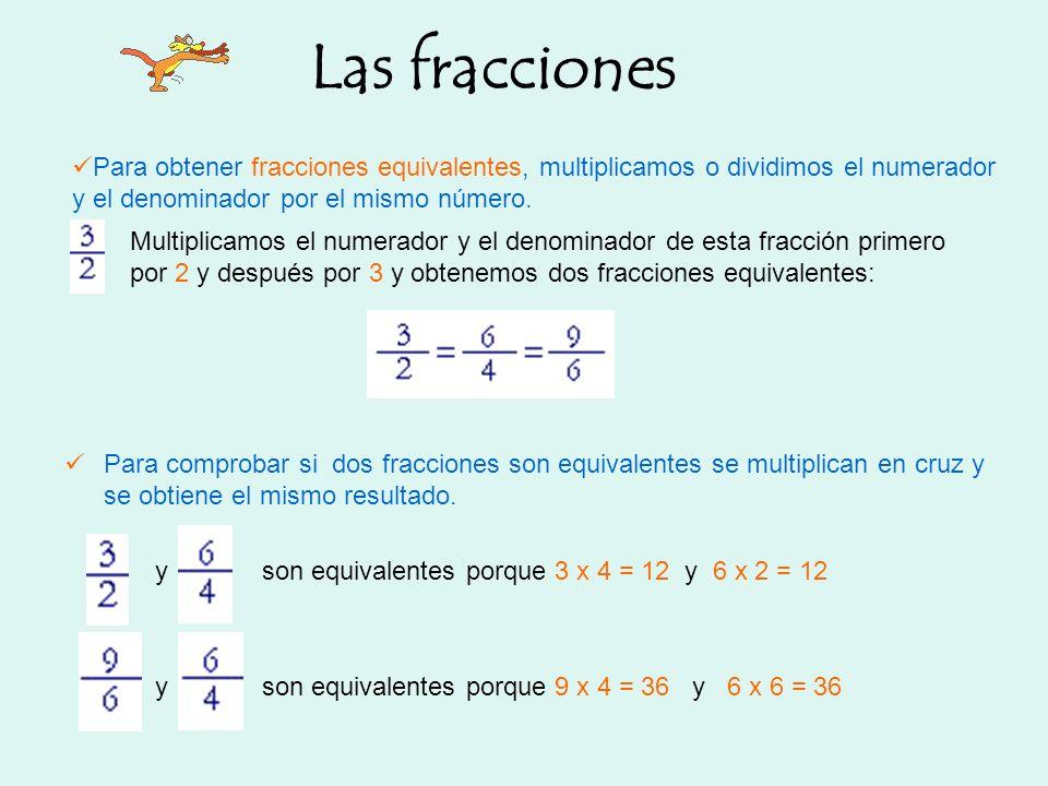 Las fracciones Para obtener fracciones equivalentes, multiplicamos o dividimos el numerador y el denominador por el mismo número. Para comprobar si do