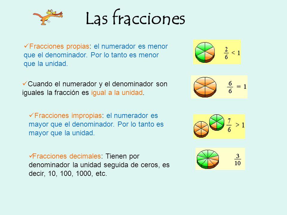 Fracciones propias: el numerador es menor que el denominador. Por lo tanto es menor que la unidad. Cuando el numerador y el denominador son iguales la
