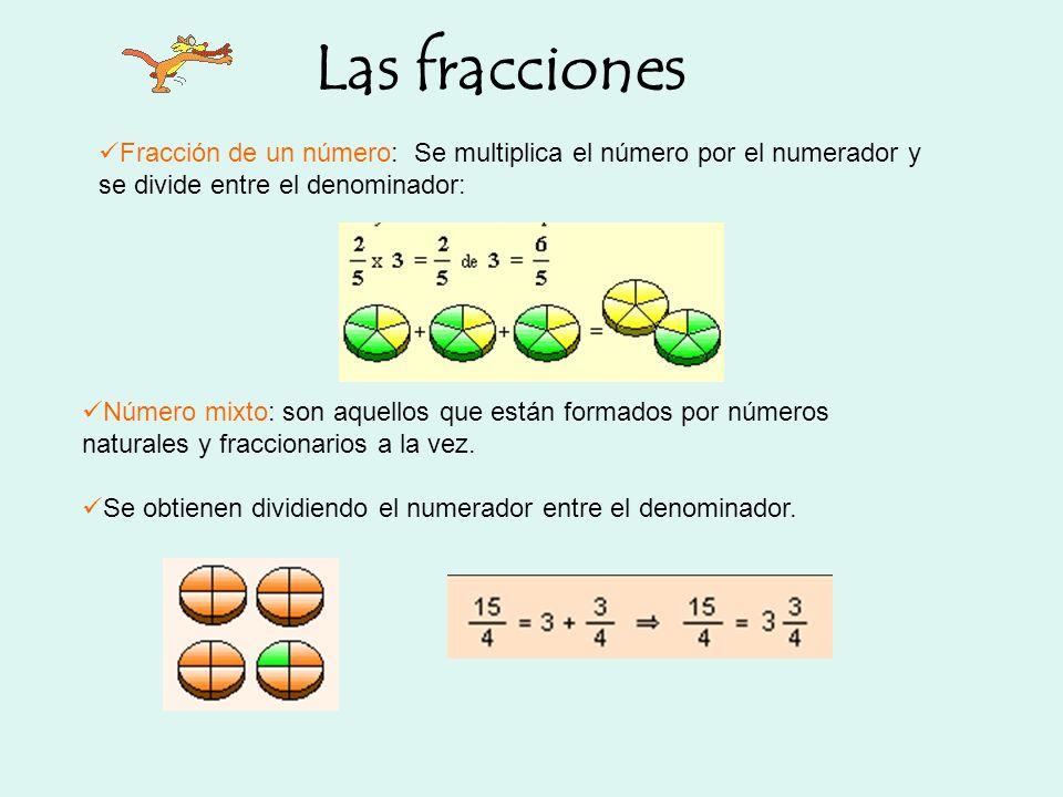 Fracción de un número: Se multiplica el número por el numerador y se divide entre el denominador: Número mixto: son aquellos que están formados por nú
