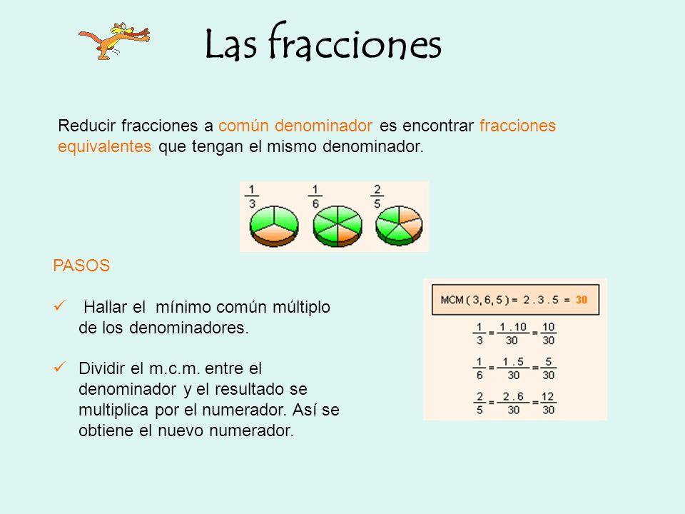 Las fracciones Reducir fracciones a común denominador es encontrar fracciones equivalentes que tengan el mismo denominador. PASOS Hallar el mínimo com