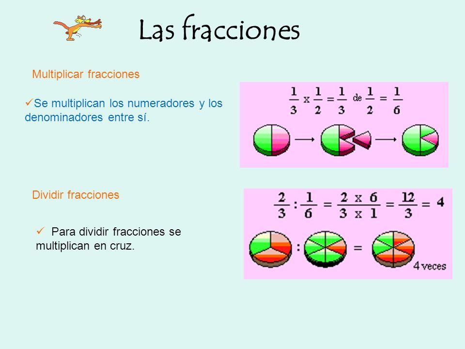 Las fracciones Se multiplican los numeradores y los denominadores entre sí. Multiplicar fracciones Dividir fracciones Para dividir fracciones se multi