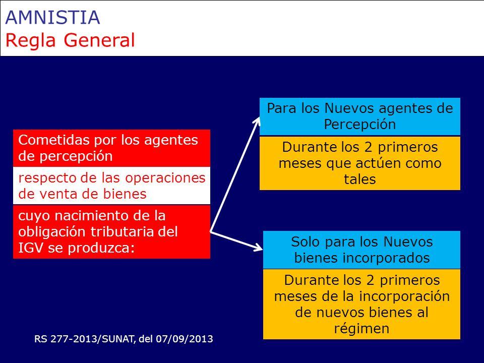 AMNISTIA Regla General Cometidas por los agentes de percepción Durante los 2 primeros meses de la incorporación de nuevos bienes al régimen cuyo nacim