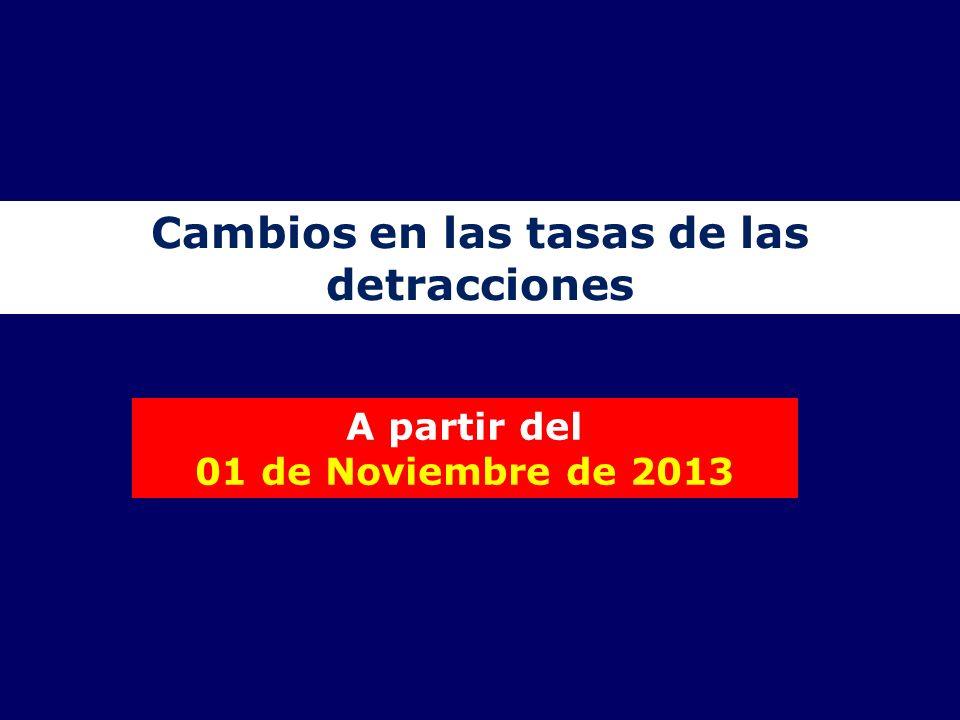 Cambios en las tasas de las detracciones A partir del 01 de Noviembre de 2013