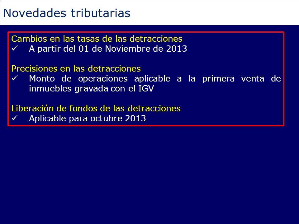 Cambios en las tasas de las detracciones A partir del 01 de Noviembre de 2013 Precisiones en las detracciones Monto de operaciones aplicable a la prim