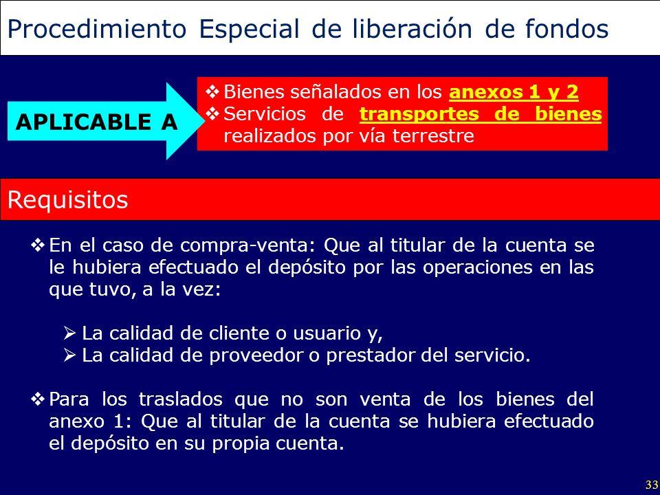 33 Procedimiento Especial de liberación de fondos Bienes señalados en los anexos 1 y 2 Servicios de transportes de bienes realizados por vía terrestre