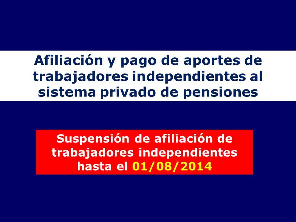 Afiliación y pago de aportes de trabajadores independientes al sistema privado de pensiones Suspensión de afiliación de trabajadores independientes ha