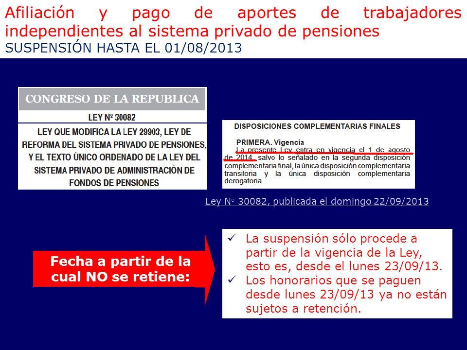 Afiliación y pago de aportes de trabajadores independientes al sistema privado de pensiones SUSPENSIÓN HASTA EL 01/08/2013 Ley N° 30082, publicada el