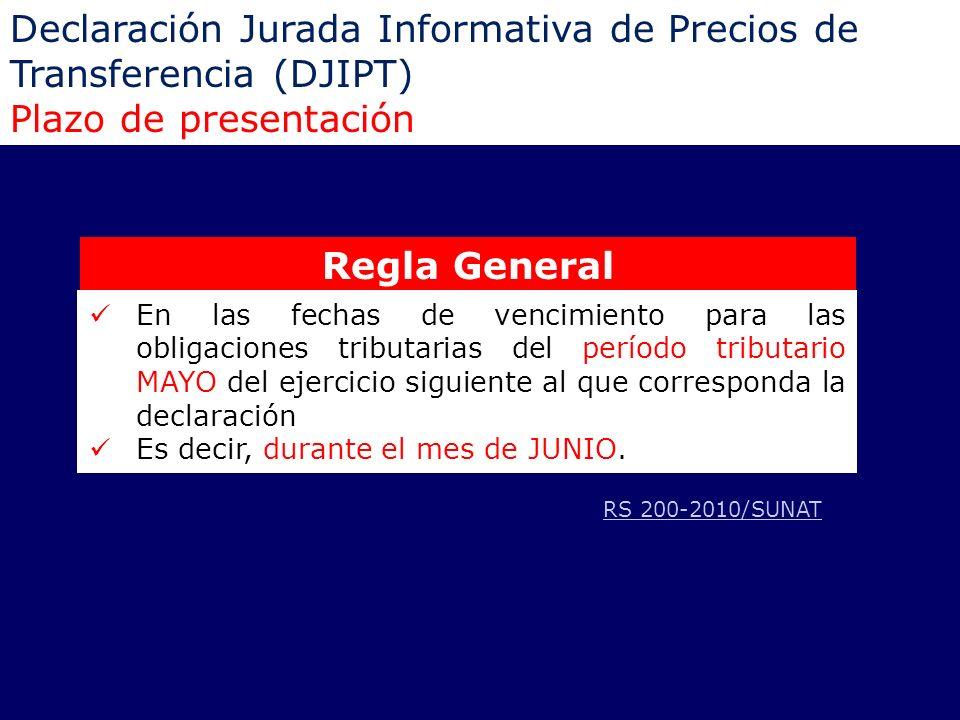 Declaración Jurada Informativa de Precios de Transferencia (DJIPT) Plazo de presentación Regla General En las fechas de vencimiento para las obligacio