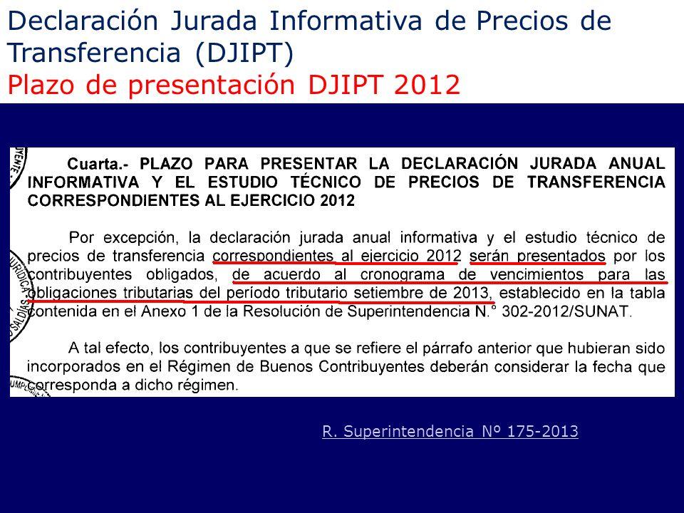 Declaración Jurada Informativa de Precios de Transferencia (DJIPT) Plazo de presentación DJIPT 2012 R. Superintendencia Nº 175-2013