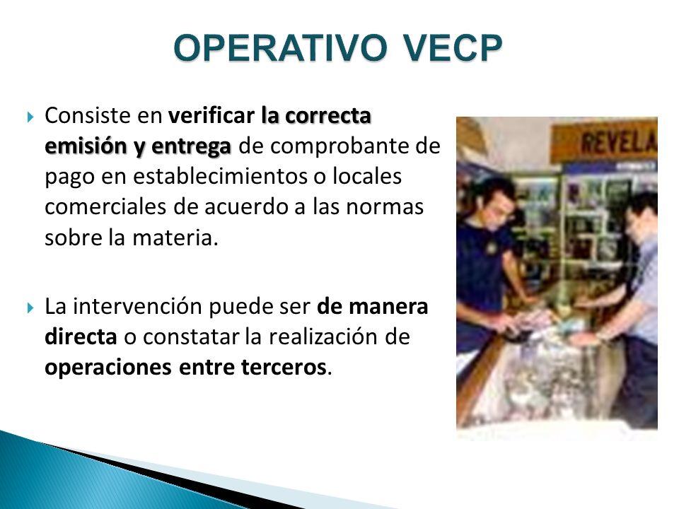 la correcta emisión y entrega Consiste en verificar la correcta emisión y entrega de comprobante de pago en establecimientos o locales comerciales de acuerdo a las normas sobre la materia.