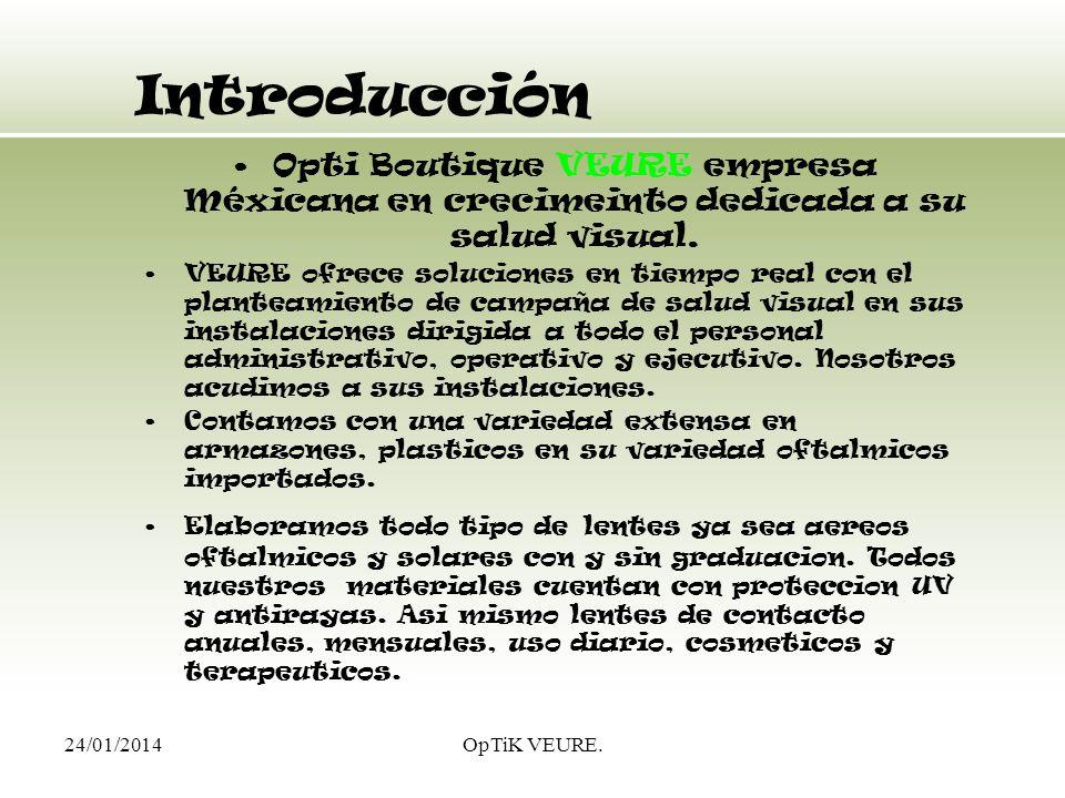 24/01/2014OpTiK VEURE. Introducción Opti Boutique VEURE empresa Méxicana en crecimeinto dedicada a su salud visual. VEURE ofrece soluciones en tiempo