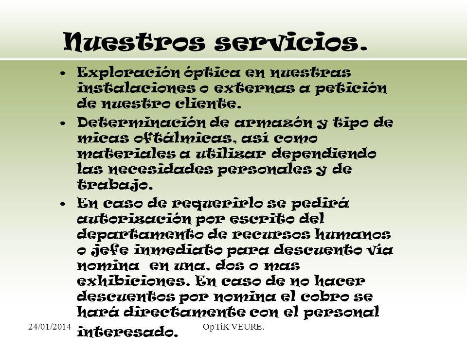 24/01/2014OpTiK VEURE. Nuestros servicios. Exploración óptica en nuestras instalaciones o externas a petición de nuestro cliente. Determinación de arm