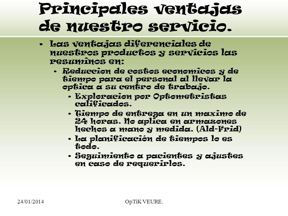 24/01/2014OpTiK VEURE. Principales ventajas de nuestro servicio. Las ventajas diferenciales de nuestros productos y servicios las resuminos en: Reducc