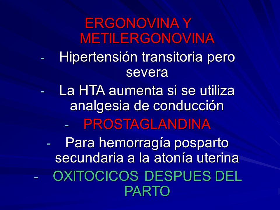 ERGONOVINA Y METILERGONOVINA - Hipertensión transitoria pero severa - La HTA aumenta si se utiliza analgesia de conducción - PROSTAGLANDINA - Para hem