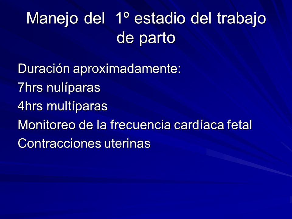 Manejo del 1º estadio del trabajo de parto Duración aproximadamente: 7hrs nulíparas 4hrs multíparas Monitoreo de la frecuencia cardíaca fetal Contracc