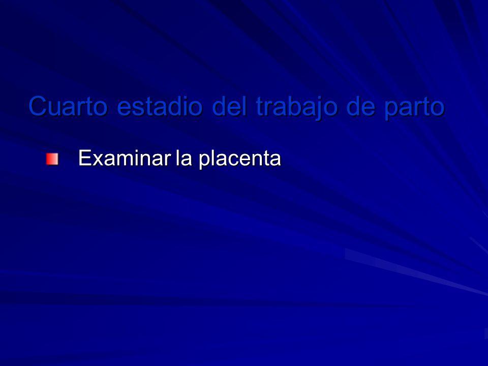 Cuarto estadio del trabajo de parto Examinar la placenta