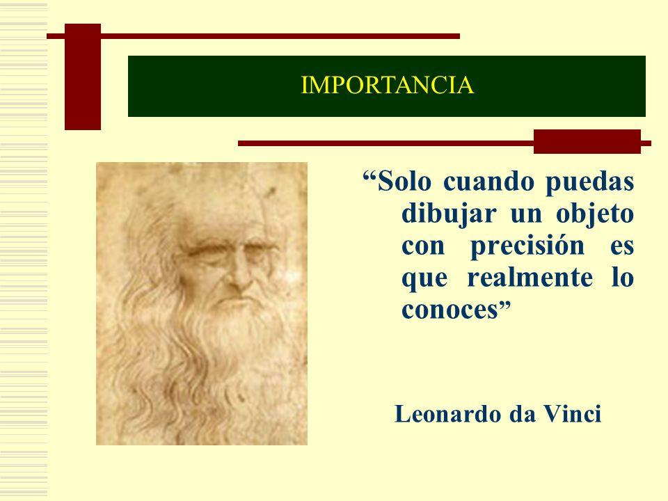 Solo cuando puedas dibujar un objeto con precisión es que realmente lo conoces Leonardo da Vinci IMPORTANCIA