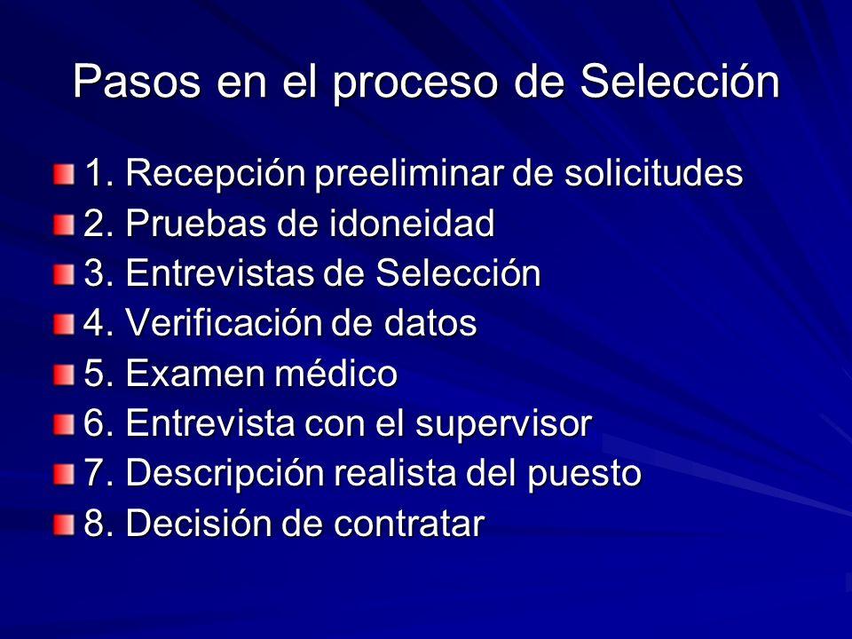 Pasos en el proceso de Selección 1. Recepción preeliminar de solicitudes 2. Pruebas de idoneidad 3. Entrevistas de Selección 4. Verificación de datos