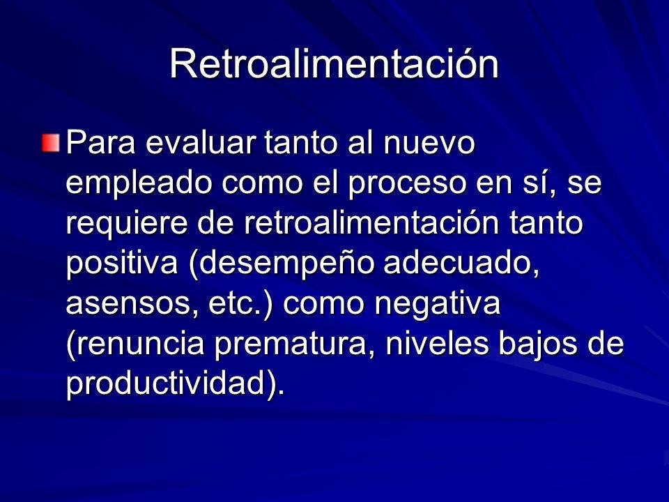 Retroalimentación Para evaluar tanto al nuevo empleado como el proceso en sí, se requiere de retroalimentación tanto positiva (desempeño adecuado, ase