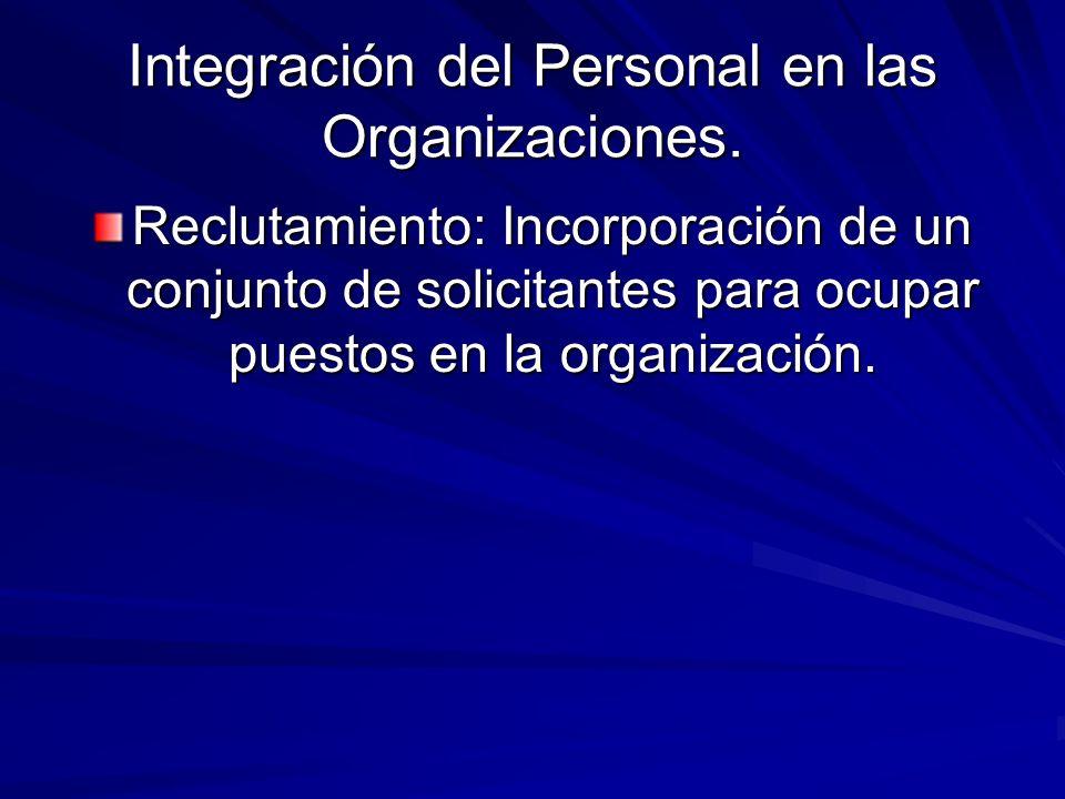 Integración del Personal en las Organizaciones. Reclutamiento: Incorporación de un conjunto de solicitantes para ocupar puestos en la organización.