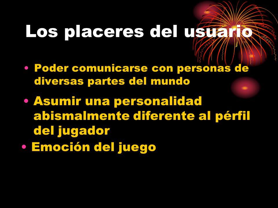 Los placeres del usuario Poder comunicarse con personas de diversas partes del mundo Asumir una personalidad abismalmente diferente al pérfil del jugador Emoción del juego