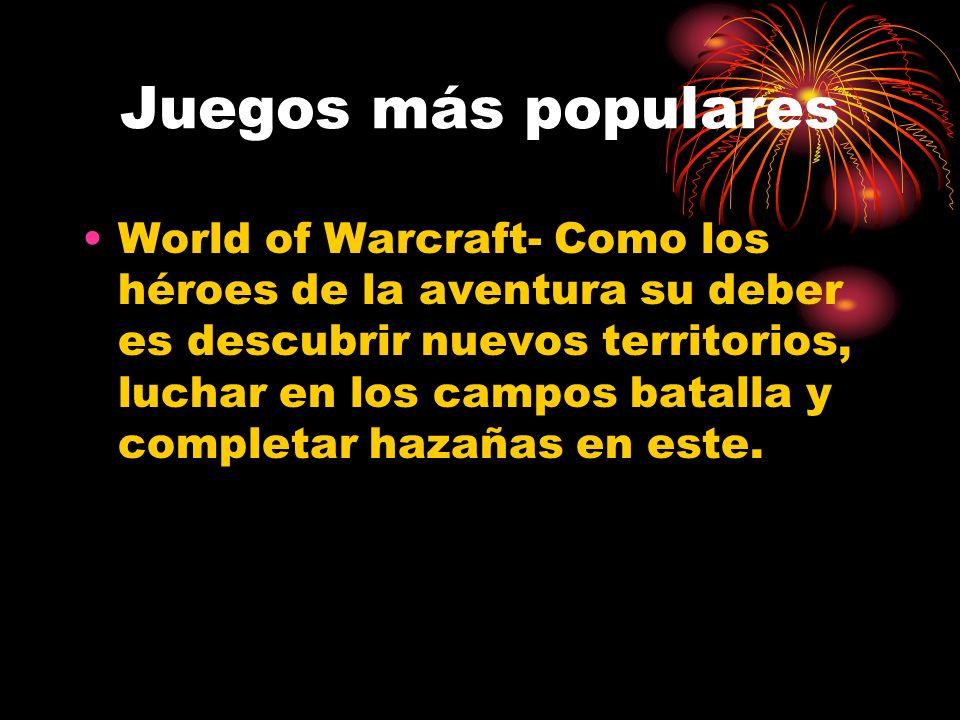 Juegos más populares World of Warcraft- Como los héroes de la aventura su deber es descubrir nuevos territorios, luchar en los campos batalla y completar hazañas en este.