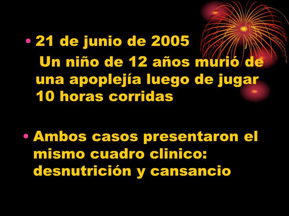 21 de junio de 2005 Un niño de 12 años murió de una apoplejía luego de jugar 10 horas corridas Ambos casos presentaron el mismo cuadro clinico: desnutrición y cansancio