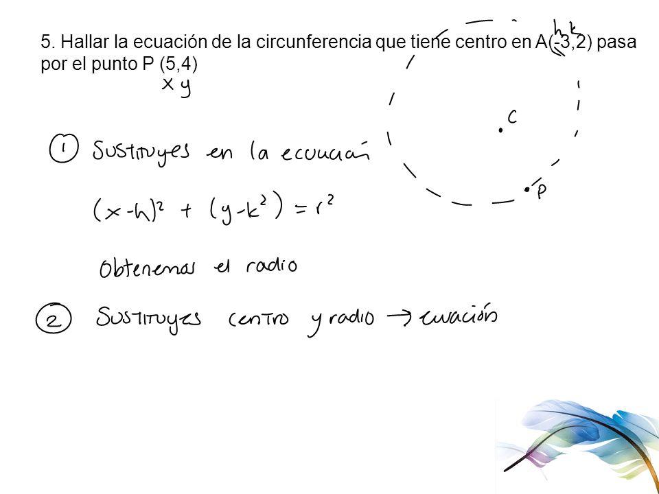 5. Hallar la ecuación de la circunferencia que tiene centro en A(-3,2) pasa por el punto P (5,4)