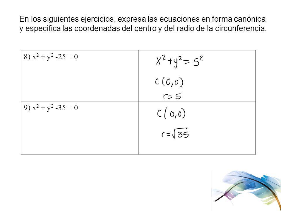 En los siguientes ejercicios, expresa las ecuaciones en forma canónica y especifica las coordenadas del centro y del radio de la circunferencia. 8) x