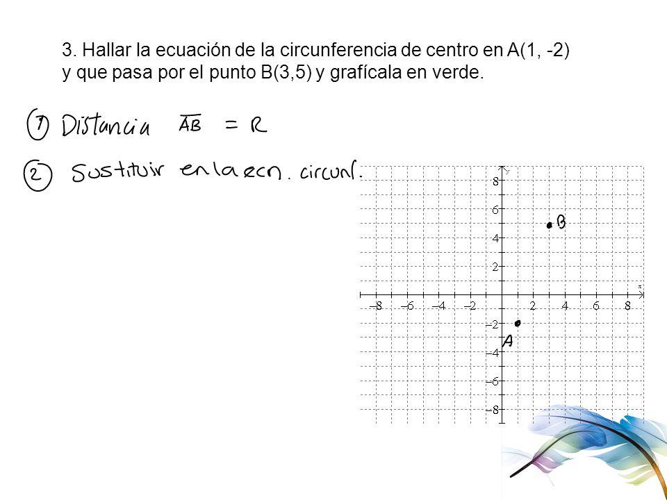 3. Hallar la ecuación de la circunferencia de centro en A(1, -2) y que pasa por el punto B(3,5) y grafícala en verde.