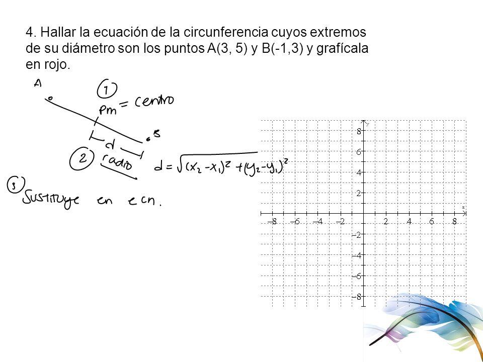 4. Hallar la ecuación de la circunferencia cuyos extremos de su diámetro son los puntos A(3, 5) y B(-1,3) y grafícala en rojo.