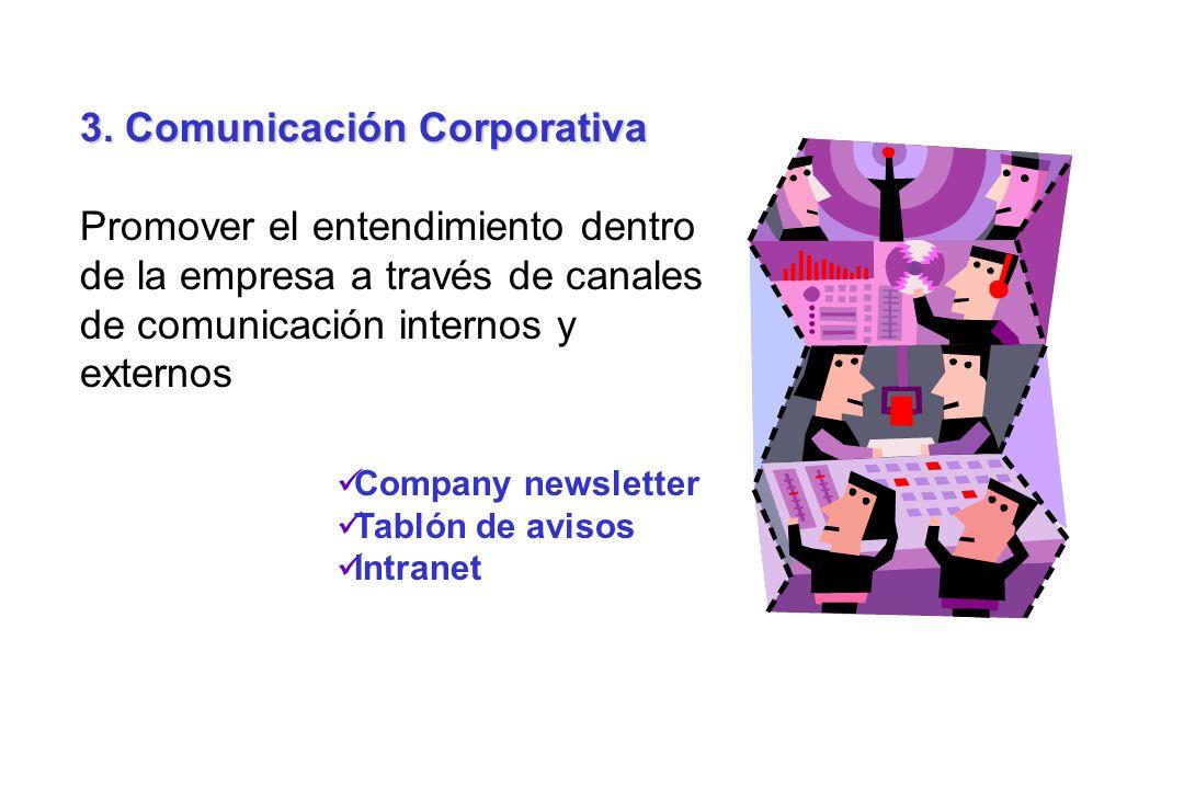 3. Comunicación Corporativa Promover el entendimiento dentro de la empresa a través de canales de comunicación internos y externos Company newsletter