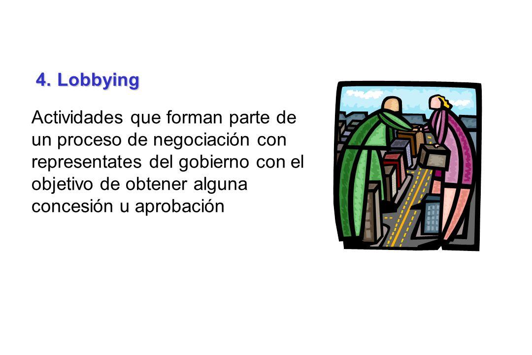 4. Lobbying Actividades que forman parte de un proceso de negociación con representates del gobierno con el objetivo de obtener alguna concesión u apr