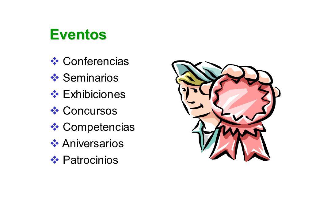 Eventos Conferencias Seminarios Exhibiciones Concursos Competencias Aniversarios Patrocinios