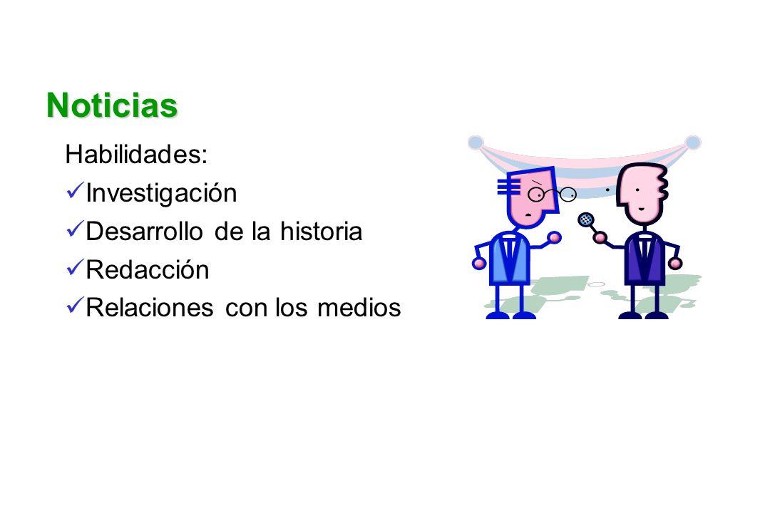 Noticias Habilidades: Investigación Desarrollo de la historia Redacción Relaciones con los medios