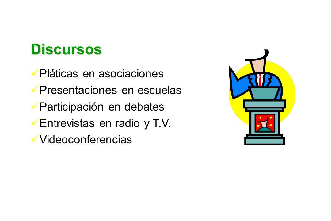 Discursos Pláticas en asociaciones Presentaciones en escuelas Participación en debates Entrevistas en radio y T.V. Videoconferencias