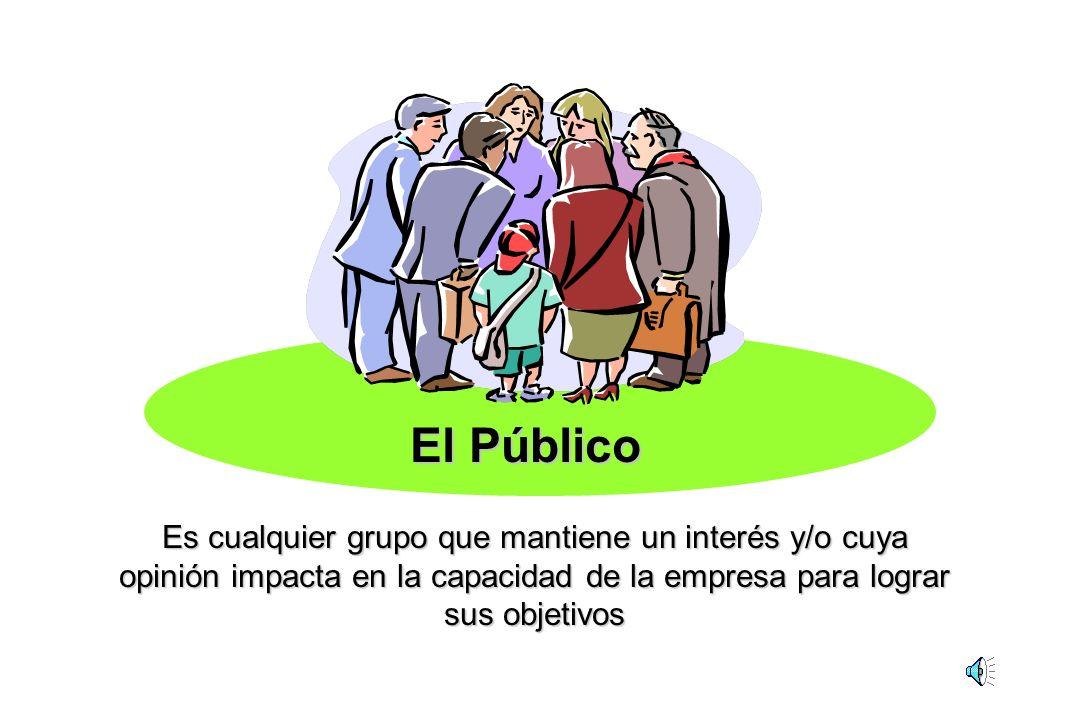 El Público Es cualquier grupo que mantiene un interés y/o cuya opinión impacta en la capacidad de la empresa para lograr sus objetivos