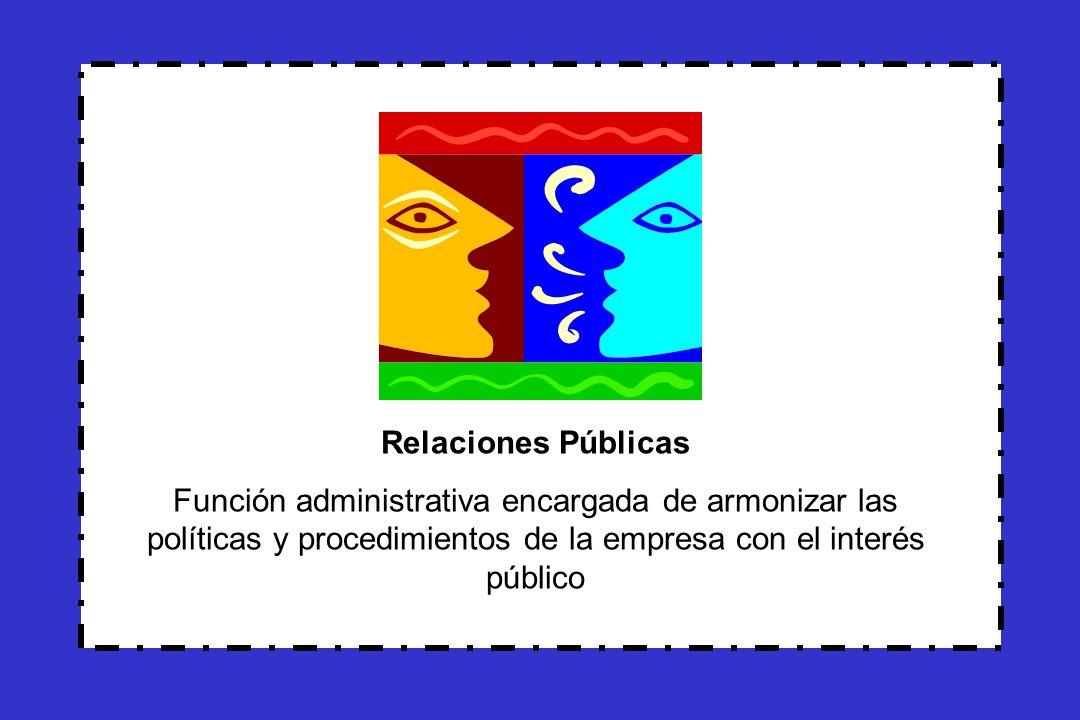 Objetivos de las Relaciones Públicas Educar e informar al público Fomentar la confianza del público Lograr la aceptación del público Dar al público una razón para comprar