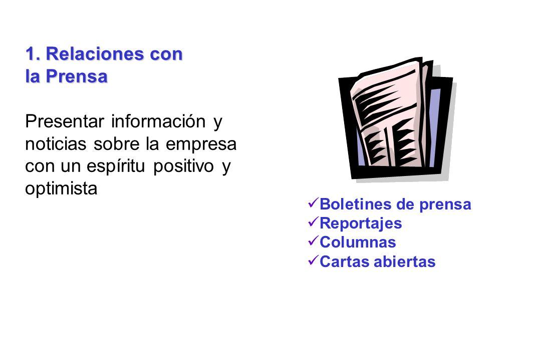 1. Relaciones con la Prensa Presentar información y noticias sobre la empresa con un espíritu positivo y optimista Boletines de prensa Reportajes Colu