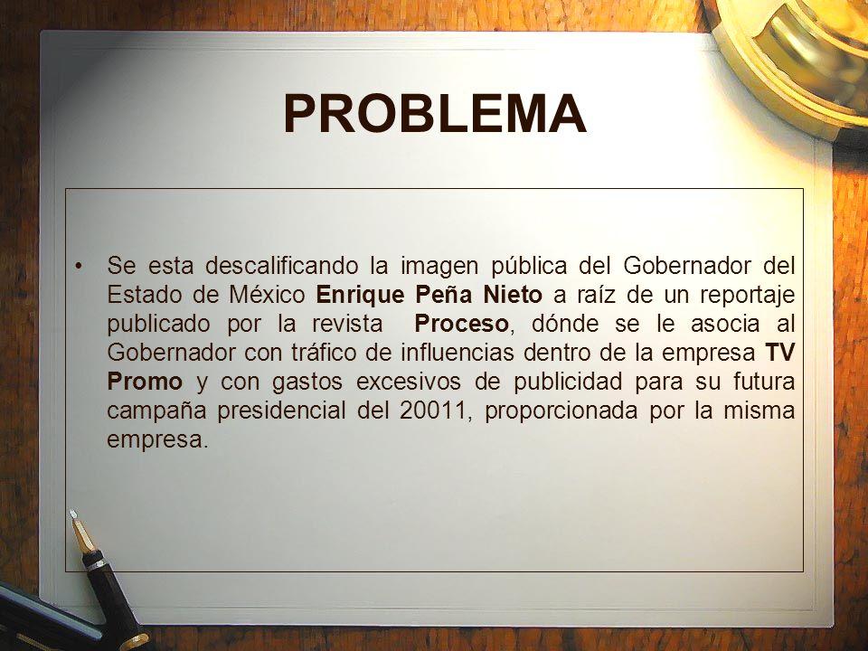 PROBLEMA Se esta descalificando la imagen pública del Gobernador del Estado de México Enrique Peña Nieto a raíz de un reportaje publicado por la revis
