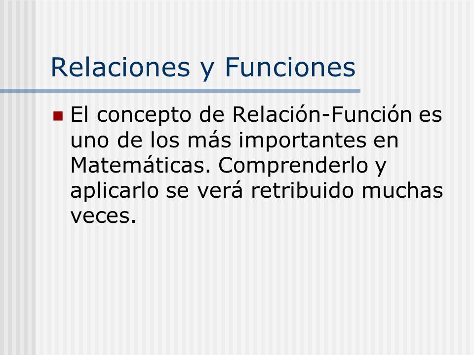 El concepto de Relación-Función es uno de los más importantes en Matemáticas. Comprenderlo y aplicarlo se verá retribuido muchas veces.