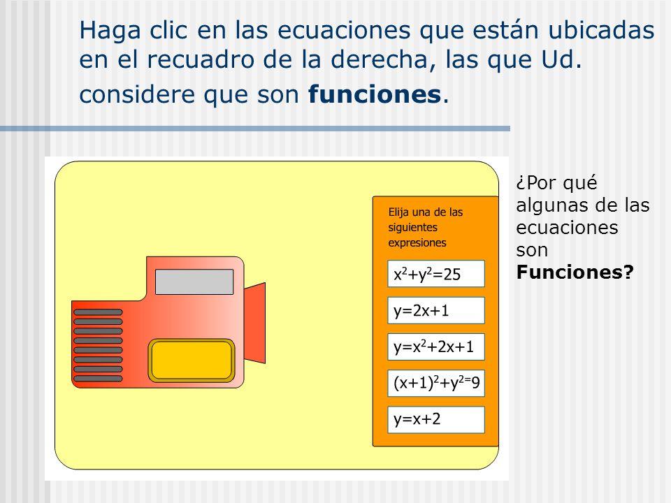 Haga clic en las ecuaciones que están ubicadas en el recuadro de la derecha, las que Ud. considere que son funciones. ¿Por qué algunas de las ecuacion