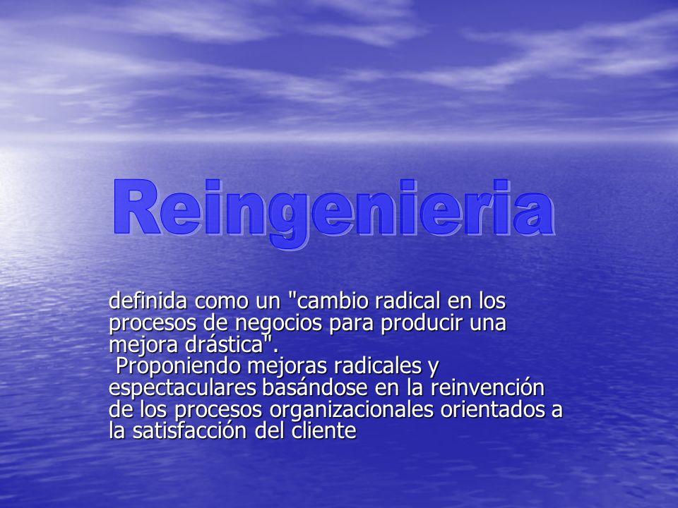 Es una técnica de mejora continua que consiste en el replanteamiento fundamental y el rediseño radical y general de los procesos con la finalidad de alcanzar mejoras espectaculares Es una técnica de mejora continua que consiste en el replanteamiento fundamental y el rediseño radical y general de los procesos con la finalidad de alcanzar mejoras espectaculares