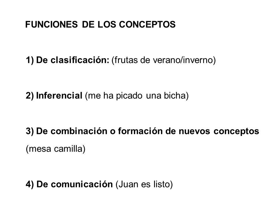 FUNCIONES DE LOS CONCEPTOS 1)De clasificación: (frutas de verano/inverno) 2)Inferencial (me ha picado una bicha) 3)De combinación o formación de nuevo